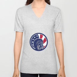 Native American Indian Chief USA Flag Icon Unisex V-Neck