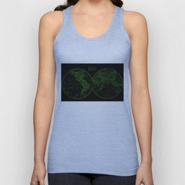 Vintage Map of The World (1857) Black & Green Unisex Tank Top