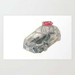Surprise! A red bow on a black present: A New Car Art Print