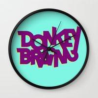 donkey Wall Clocks featuring Donkey Brain by Josh LaFayette