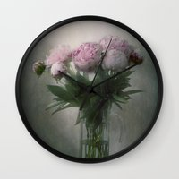 peonies Wall Clocks featuring Peonies by Pauline Fowler ( Polly470 )