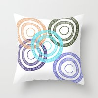 bianca green Throw Pillows featuring Bianca Circle by Ellie And Ada