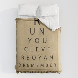 Run You Clever Boy - Doctor Who Inspired Vintage Eye Chart Duvet Cover