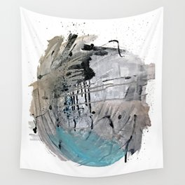 Riptide: an abstract mixed media piece in black, white, brown and blue Wall Tapestry