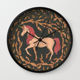 The last unicorn in a floral wreath on black background Wall Clock