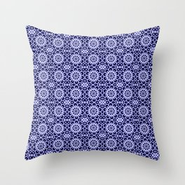 Lace of snow flakes on dark blue background Throw Pillow
