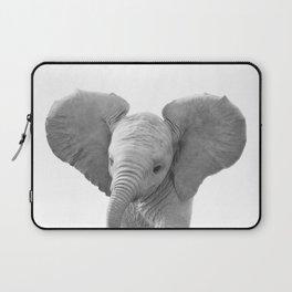Baby Elephant Black & White, Baby Animals Art Print by Synplus Laptop Sleeve