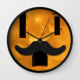 Electric Outlet - Gold Bokeh Moustache Wall Clock