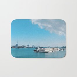 Spain's Port of Las Palmas on a Sunny and Bright Blue Day Bath Mat