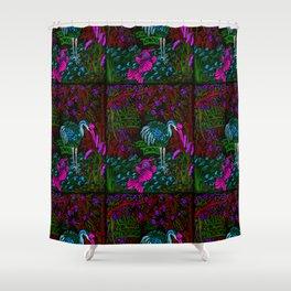 Asian Bamboo Garden in Black Velvet Watercolor Shower Curtain