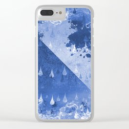 Abstract Blue Rain Drops Design Clear iPhone Case
