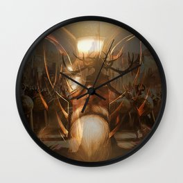 Odin and the goddess of death Wall Clock