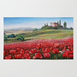 Italian Poppy Field Rug