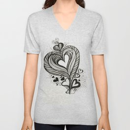 HeArt Therapy - Black and white heart Unisex V-Neck