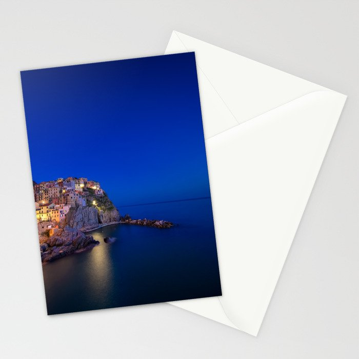 As the night falls over Manarola Stationery Cards