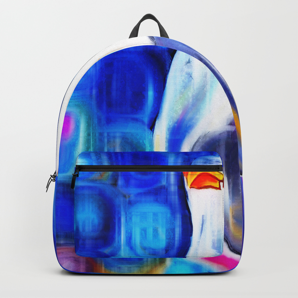 Vibrant Seagull Portrait Backpack by Prawny BKP8579738