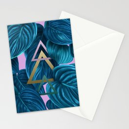 tropical turquoise leaves pattern Stationery Cards