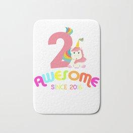 Awesome Since 2016 Unicorn 2nd Birthday Anniversaries Bath Mat