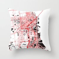 san francisco map Throw Pillows featuring San Francisco Noise Map by ARTITECTURE