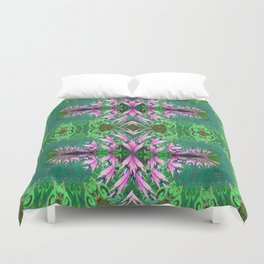 Futuristic Floral in Spring Green and Fresh Bloom Duvet Cover
