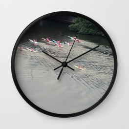 Kayakers On The River Wall Clock