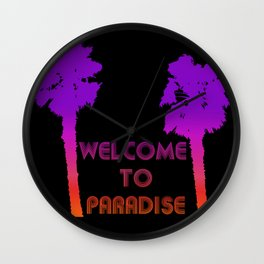 Welcome to Paradise Palm Trees on Black Wall Clock