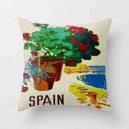 Retro Travel Poster - Spain Throw Pillow