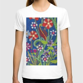 Starry Floral Felted Wool, Blue T-shirt