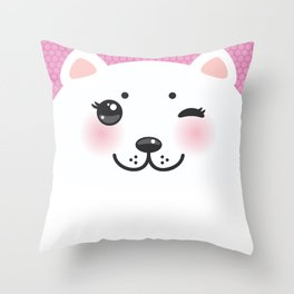 Cute Cartoon Kawaii funny white cat muzzle with pink cheeks and wink eyes on a lilac. Nursery decor Throw Pillow