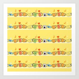 Pattern with cups. Art Print