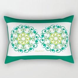 Grace Mandala x 2 - Green White Rectangular Pillow