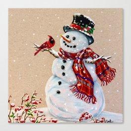 Snowman and cardinal Canvas Print