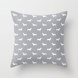 Dachshund pattern minimal grey and white dog lover home decor gifts accessories silhouette Throw Pillow
