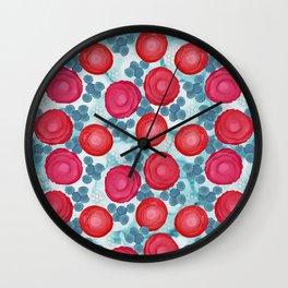 Alcohol Ink Roses Wall Clock