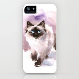 Watercolor Siamese Cat iPhone Case