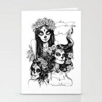 dia de los muertos Stationery Cards featuring Dia de los Muertos by Khaedin