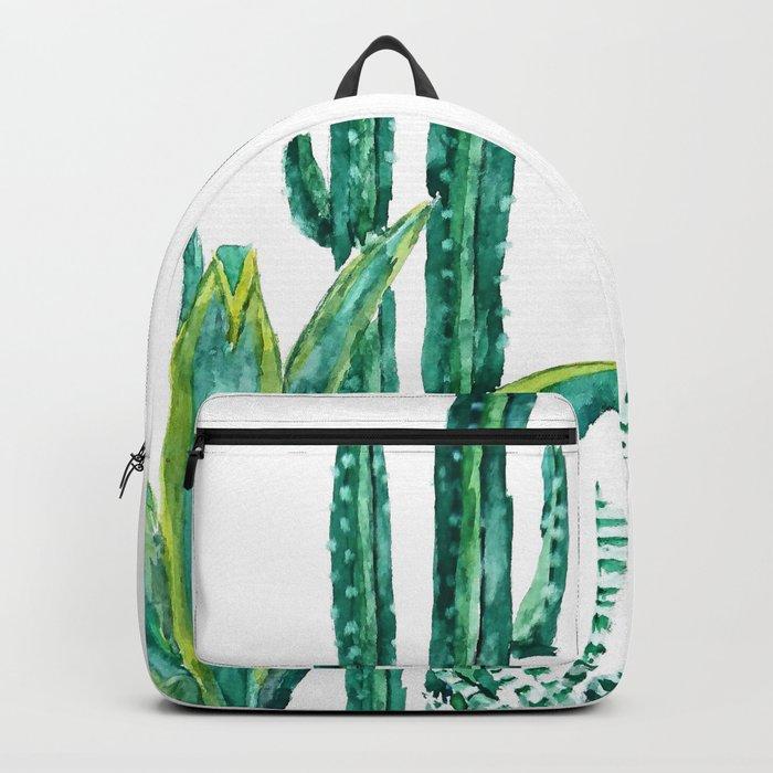 cactus jungle watercolor painting 2 Backpack