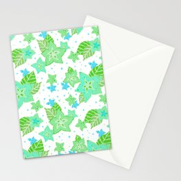 Starry Starfruit- Neon Green Stationery Cards