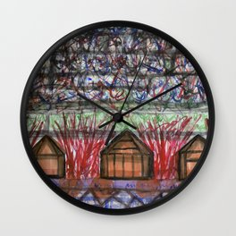 Three Cabins under Red Bushes  Wall Clock