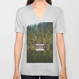 Cottage in the Forest (Color) Unisex V-Neck