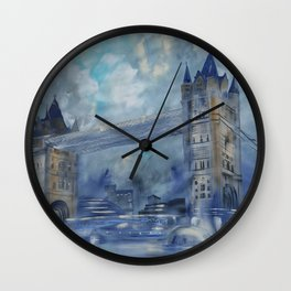 London bridge 110x160 cm Large impressionism acrylic painting on unstretched canvas S049 art by arti Wall Clock