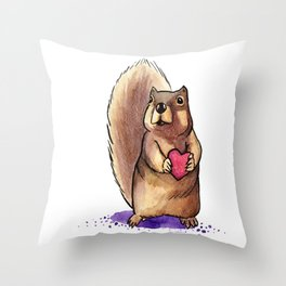 Squirrel Loves You Throw Pillow