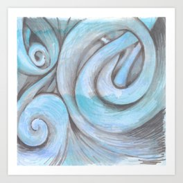 swirl (light blue) Art Print