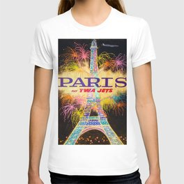 Vintage Paris, France Fly TWA Jet Airlines Lithograph Advertisement Poster T-shirt