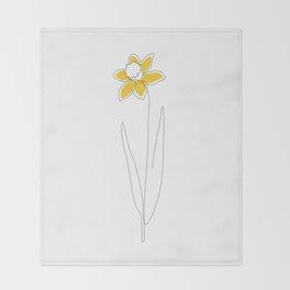 Mustard Daffodil Throw Blanket