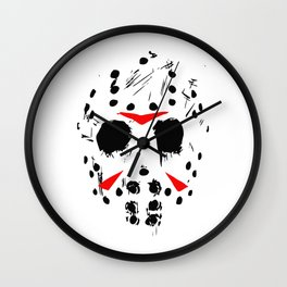 Classic Horror Movie mask of Jason Voorhees  Wall Clock