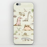 dinosaurs iPhone & iPod Skins featuring Dinosaurs by Sophie Corrigan
