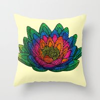 lotus flower Throw Pillows featuring Lotus  by Luna Portnoi