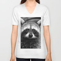 racoon V-neck T-shirts featuring Racoon B & W by Heidi Ingram