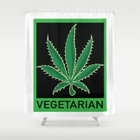 vegetarian Shower Curtains featuring Vegetarian Marijuana Leaf by BudProducts.us